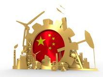 Les icônes d'énergie et de puissance ont placé avec le drapeau de la Chine Photo stock