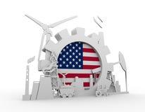 Les icônes d'énergie et de puissance ont placé avec le drapeau des Etats-Unis Photo libre de droits