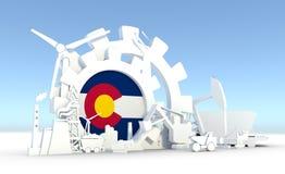 Les icônes d'énergie et de puissance ont placé avec le drapeau du Colorado Photographie stock libre de droits