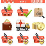 Les icônes d'achats de vecteur ont placé 3 Illustration Libre de Droits
