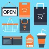 Les icônes d'achats ont placé la bourse d'étiquette de label de sac de panier illustration de vecteur