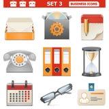 Les icônes d'affaires de vecteur ont placé 3 Illustration de Vecteur