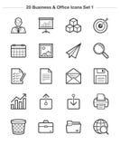 Les icônes d'affaires et de bureau ont placé 1, ligne icônes d'épaisseur Images stock