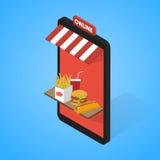 Les icônes d'aliments de préparation rapide ont placé isométrique Tablette, mobile illustration de vecteur