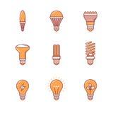 Les icônes d'ampoule amincissent la ligne ensemble Image stock