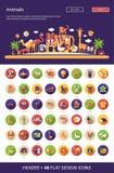 Les icônes d'animaux sauvages et domestiques de conception plate ont placé avec l'en-tête Photo stock