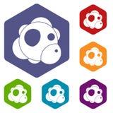 Les icônes d'atome ont placé l'hexagone Photographie stock