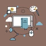 Les icônes d'ensemble de Web d'illustration de vecteur d'école d'éducation ont placé des symboles de diplômé de formation d'unive Images stock