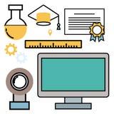 Les icônes d'ensemble de Web d'illustration de vecteur d'école d'éducation ont placé des symboles de diplômé de formation d'unive Images libres de droits