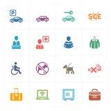 Les icônes d'hôtel ont placé 1 - série colorée illustration de vecteur