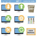 Les icônes d'ordinateur de vecteur ont placé 7 Images stock