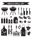 Les icônes de barbecue et de gril ont placé, silhouette noire, style d'ensemble Collection de BBQ d'objets, éléments de conceptio illustration stock