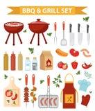 Les icônes de barbecue et de gril style placent, d'appartements ou de bande dessinée Collection de BBQ d'objets, éléments de conc Illustration Libre de Droits