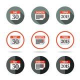 Les icônes de calendrier ont placé - l'année, mois, jour différent illustration de vecteur