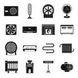 Les icônes de chauffage d'air de refroidissement ont placé, style simple illustration libre de droits