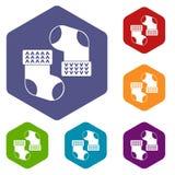 Les icônes de chaussettes de bébé ont placé l'hexagone Photo libre de droits