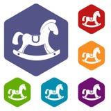 Les icônes de cheval de jouet ont placé l'hexagone Photos libres de droits