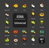 Les icônes de couleur ont placé dans le style isométrique plat d'illustration, collection de vecteur Photographie stock libre de droits