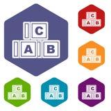 Les icônes de cubes en ABC ont placé l'hexagone Photos stock
