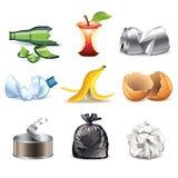 Les icônes de déchets ont détaillé l'ensemble de vecteur Photos stock