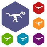 Les icônes de dinosaure de tyrannosaure ont placé l'hexagone Images libres de droits