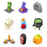 Les icônes de Halloween ont placé le chaudron de chapeau de sorcière de potiron Photographie stock