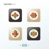 Les icônes de hot-dog et de salade conçoivent la nourriture sur le bois Photos libres de droits