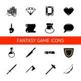 Les icônes de jeu de RPG ont placé des breuvages magiques, boutons, armes, rouleaux, argent, cristaux, livres, guerrier, illustrat illustration libre de droits