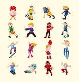 Icônes de joueur de sport réglées Photo stock