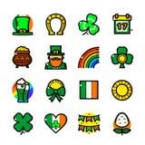 Les icônes de jour de St Patricks placent, dirigent l'illustration Images stock