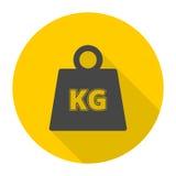 Les icônes de kilogramme de poids de vecteur ont placé avec la longue ombre Photos libres de droits