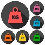 Les icônes de kilogramme de poids de vecteur ont placé avec la longue ombre Photographie stock libre de droits