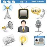 Les icônes de media de vecteur ont placé 2 Illustration Stock