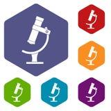 Les icônes de microscope ont placé l'hexagone Photographie stock