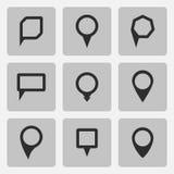 Les icônes de noir d'indicateur de vecteur ont placé de diverses formes Images stock