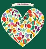 Les icônes de nourriture d'Eco ont placé des légumes et des fruits Photo libre de droits