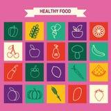 Les icônes de nourriture d'Eco ont placé des légumes et des fruits Image libre de droits