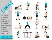 Les icônes de personnes de formation ont placé pour le sport et la forme physique Image stock