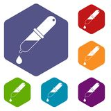 Les icônes de pipette ont placé l'hexagone Image libre de droits