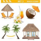 Les icônes de plage de vecteur ont placé 2 Illustration Stock