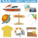 Les icônes de plage de vecteur ont placé 5 Photo libre de droits