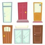Les icônes de portes ont placé l'illustration de vecteur d'isolement par conception de bande dessinée de Chambre Photo stock