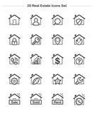 Les icônes de Real Estate et de Chambre ont placé, ligne icônes d'épaisseur Photos libres de droits