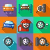 Les icônes de service de roue de pneu ont placé dans le style plat de conception illustration de vecteur