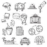 Les icônes de services hôteliers gribouillent le style tiré par la main Images libres de droits