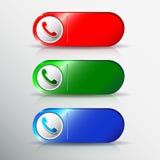 Les icônes de téléphone ont placé dans la bulle et le bouton de la parole illustration libre de droits