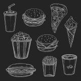 Les icônes de vecor de repas de rapide ont placé du croquis de craie Images stock