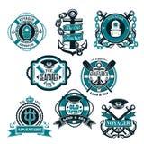 Les icônes de vecteur ont placé des symboles nautiques et marins Image libre de droits