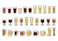 Les icônes de vecteur ont placé des tasses et des verres de bière Photos stock