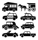 Les icônes de voiture placent, noircissent la collection automatique de pictogramme Photo libre de droits